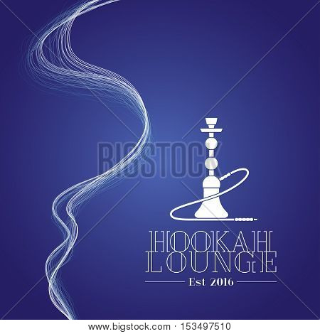Hookah vector logo icon symbol emblem sign. Isolated decorative graphic design element with smoke for hookah lounge bar. Turkish eastern style label background
