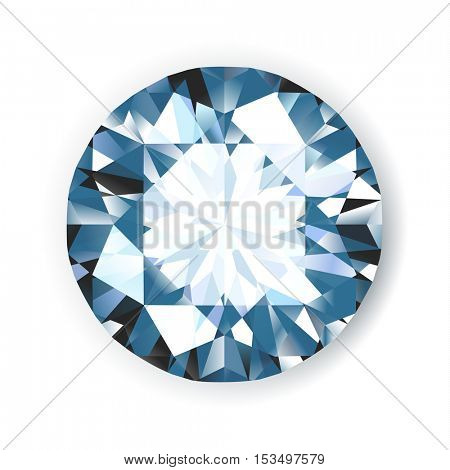 Shiny bright vector diamond on white background illustration. No transparencies.