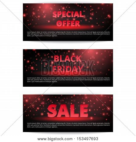 Set discount banners. Shopping Black Friday. Online sale. Holiday offer.