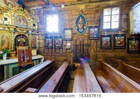Grywald, Poland - August 11, 2016; Interior Of  Wooden 15Th Century St Martin Of Tours Church