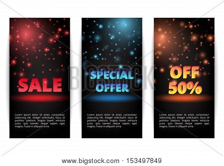 Set of banners New Year discounts. Holiday shopping. Christmas sale. Super offer.