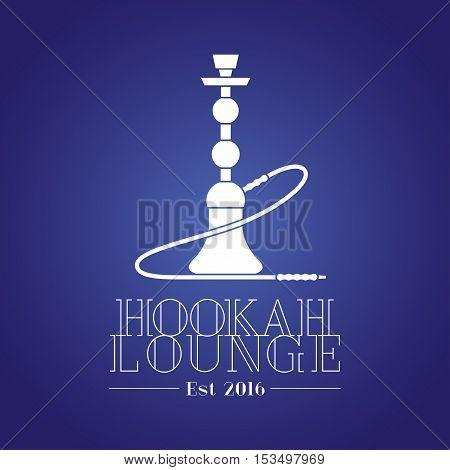 Hookah vector logo icon symbol emblem sign. Template graphic design element for menu of hookah lounge bar vintage style decoration concept
