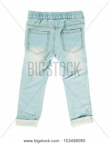 Children blue jeans. Back side. Isolated on a white background.
