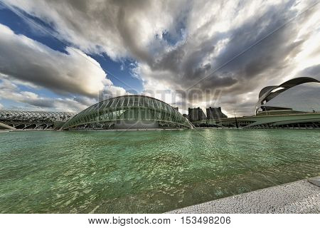 VALENCIA, SPAIN - JULY 14, 2016: Valencia (Spain) the City of Arts and Sciences projected by Santiago Calatrava and Felix Candela