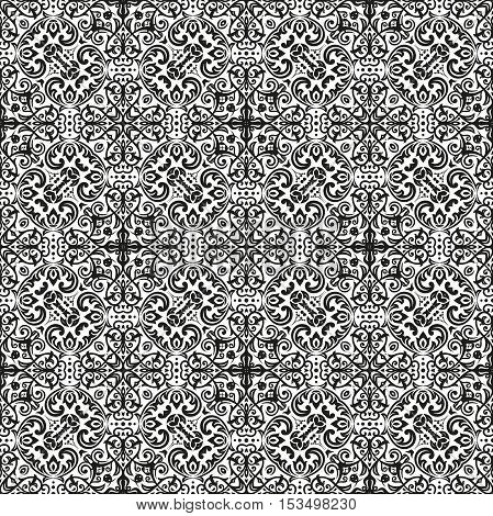 Oriental classic pattern. Seamless abstract background with repeating elements. Black and white pattern