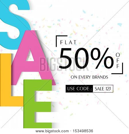Colorful creative Sale Text, Creative Poster, Banner, Flyer or Pamphlet with Flat 50% Off on Every Brands, Vector Typographical Background.