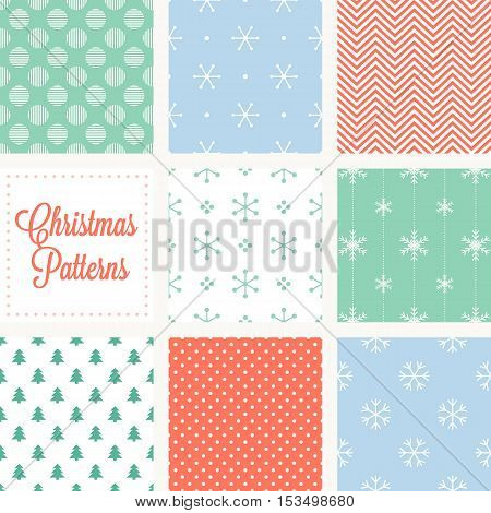 Christmas seamless pattern in vintage style, snowflakes, zigzag, polka dot on red background, christmas tree repeating on white background, circle
