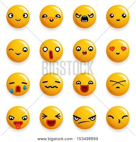 Smile Emoticon Icons Set Isolated Realistic Design Vector Illustration