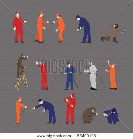 The workers in overalls in different poses. Repair and maintenance. Vector illustration