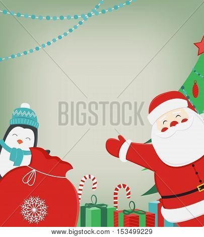 Christmas composition with Santa Claus and Penguin. Christmas greeting card. Space for text. Vector illustration