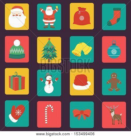 Christmas Icons set. Flat design. Vector illustration