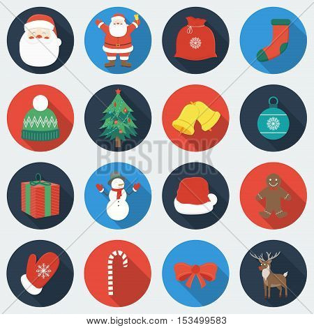 Set of Christmas Icons. Flat design style with long shadow. Vector Illustration.