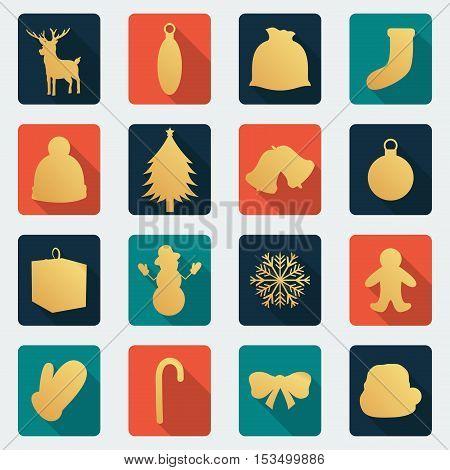 Christmas icon set. Flat design. Vector illustration
