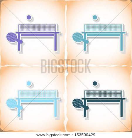 Table tennis. Flat sticker with shadow on old paper. Vector illustration
