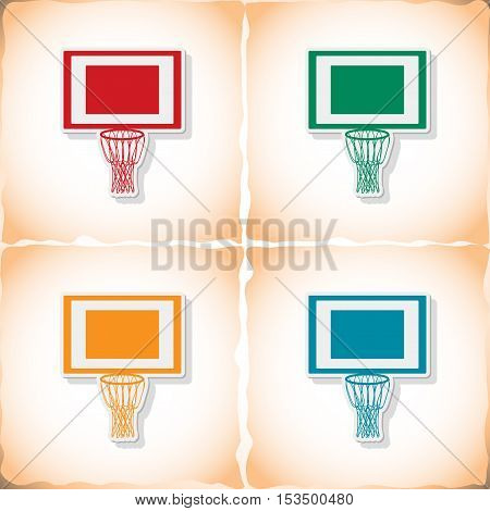 Basketball net. Flat sticker with shadow on old paper. Vector illustration