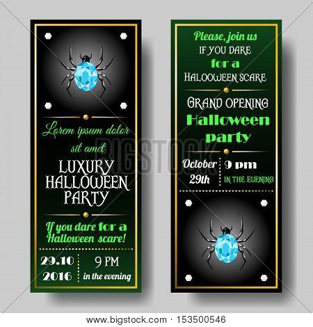 Halloween party invitations set. Invitation card with gold elements and diamond spider.