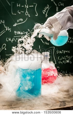Closeup of practical chemical tests in academic laboratory
