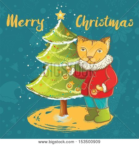 Vector template for christmas card with cute kitten decorate christmas tree.