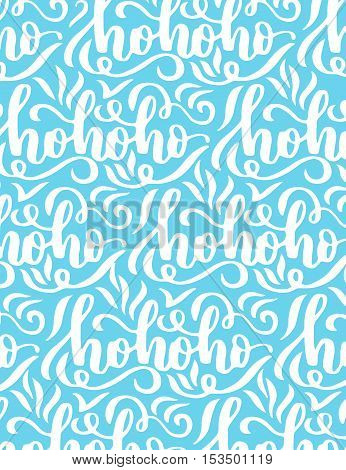 Poster Vector Template With Hohoho Calligraphy On Blue Background. Winter Pattern.