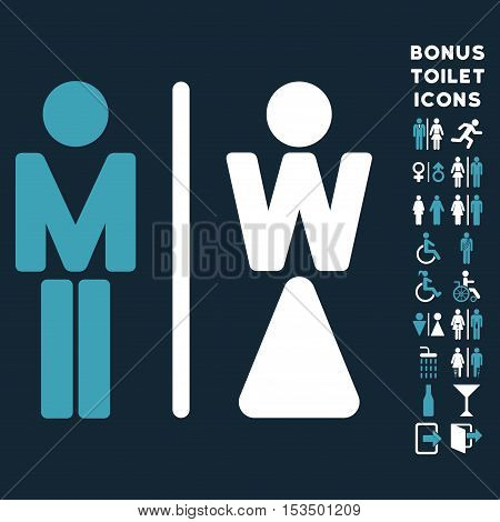 WC Persons icon and bonus gentleman and female toilet symbols. Vector illustration style is flat iconic bicolor symbols, blue and white colors, dark blue background.