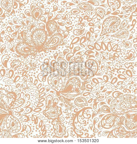 Floral doodle seamless wallpaper pattern. Illustration with paisley ornaments. Textile with hand-drawn flowers.