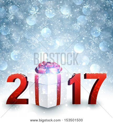 2017 New Year blue shining background with gift. Vector illustration.