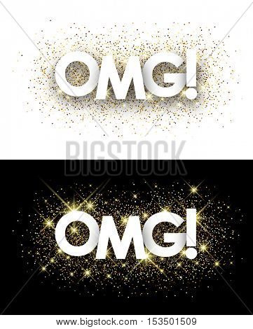 Omg paper banners set with shining sand. Vector illustration.