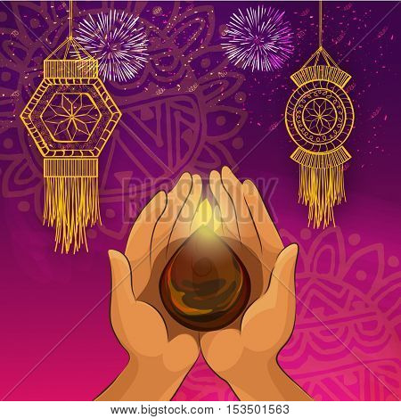 Human Hand holding illuminated Oil Lamp (Diya), Festive background with hanging Kandil Lamps, firework and floral design decoration, Vector illustration for Indian Festival, Happy Diwali celebration.
