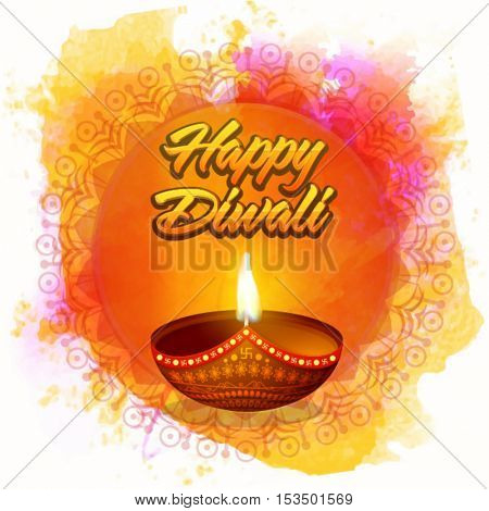 Beautiful illuminated Oil Lamp (Diya) on colorful abstract background, Elegant Greeting Card design for Indian Festival of Lights celebration.