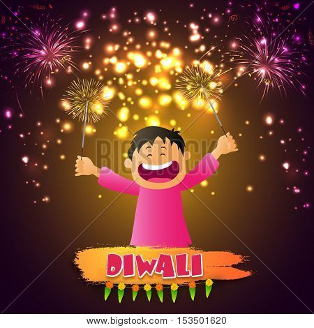 Cute little boy playing with firecrackers on occasion of Diwali festival, Glowing holiday background for Indian Festival of Lights celebration.