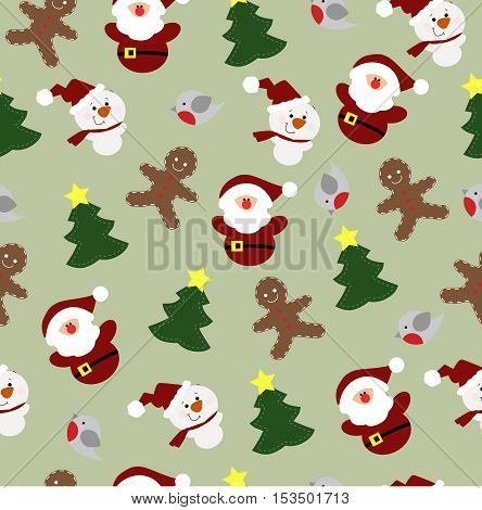 colorful childrens Christmas background with Christmas elements. Pattern for gift wrapping or scrapbook. Christmas symbols on a light green background. Baby vector illustration