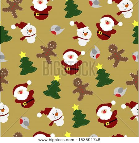 colorful childrens Christmas background with Christmas elements. Pattern for gift wrapping or scrapbook. Christmas symbols on a light gold background. Baby vector illustration