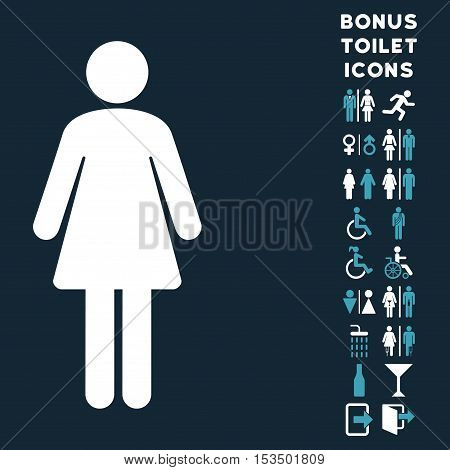 Woman icon and bonus gentleman and female lavatory symbols. Vector illustration style is flat iconic bicolor symbols, blue and white colors, dark blue background.