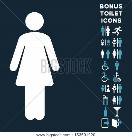 Woman icon and bonus gentleman and lady restroom symbols. Vector illustration style is flat iconic bicolor symbols, blue and white colors, dark blue background.