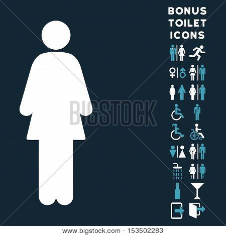 Woman icon and bonus male and lady toilet symbols. Vector illustration style is flat iconic bicolor symbols, blue and white colors, dark blue background.