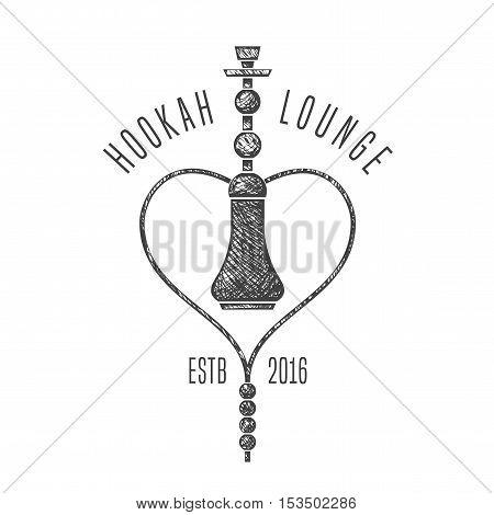Hookah vector logo icon symbol emblem sign. Nonstandard template graphic design element for menu of hookah lounge bar vintage style decoration