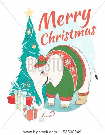 Funny Merry Christmas Card With Elephant Wearing Cute Sweater And Opening Gift Box. Christmas Tree A