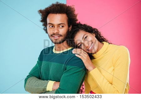 Portrait of happy tender african american young couple