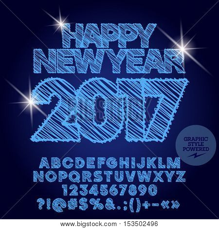 Vector shiny drawn Happy New Year 2017 greeting card with set of letters, symbols and numbers. File contains graphic styles