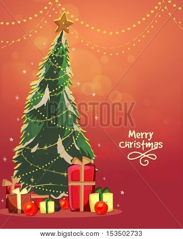 Creative Xmas Tree with colorful gift boxes for Merry Christmas celebration.