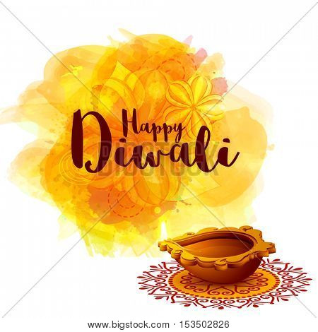 Elegant Greeting Card design with creative Oil Lamp (Diya) on floral rangoli, Abstract festive background for Indian Festival of Lights, Happy Diwali celebration.