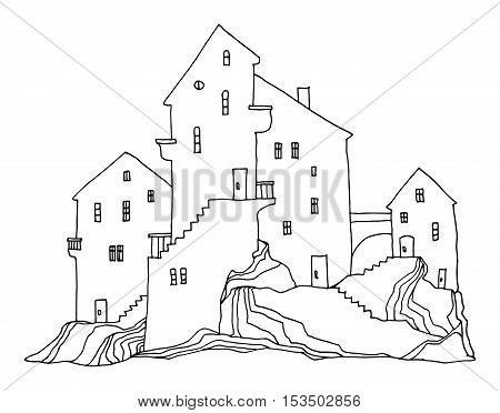 Cartoon hand drawing houses on white background, vector illustration