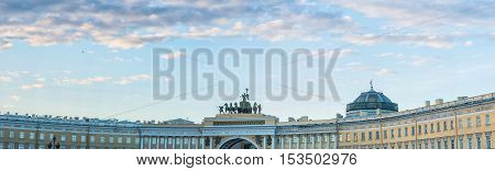 Palace Square in Saint Petersburg Russia. The monuments on the square - Winter Palace of Russian tsars Empire-style Building of the General Staff and Alexander Column in center.
