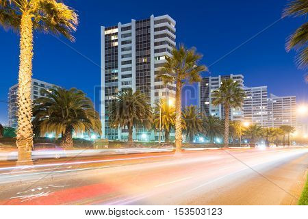 A night view of coastal city Viña del Mar in Chile