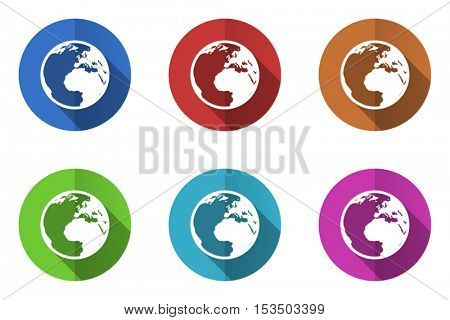 Flat design vector earth icons. Web and app buttons.