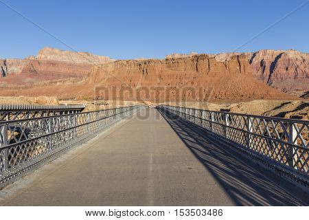 Old Colorado river bridge above Marble Canyon in Glen Canyon National Recreation Area.