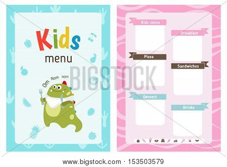 Kids menu card with cute cartoon dinosaur. Cute colorful kids meal restaurant menu vector template.