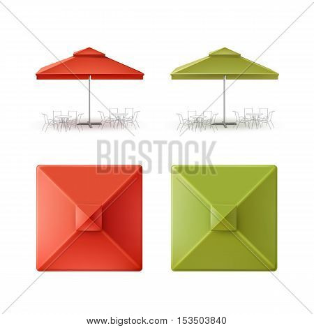 Vector Set of Red Green Blank Patio Outdoor Market Beach Cafe Bar Pub Restaurant Square Umbrella Parasol  for Branding Top Side Front View Mock up Close up Isolated on White Background.