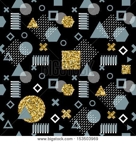 Trendy memphis cards. Abstract seamless pattern. Retro style texture, pattern and geometric. Modern abstract design poster, cover, card design. Elements with gold glittering stippling