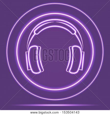 Futuristic Neon Glowing Headphones Icon Sensor style. Vector EPS 10
